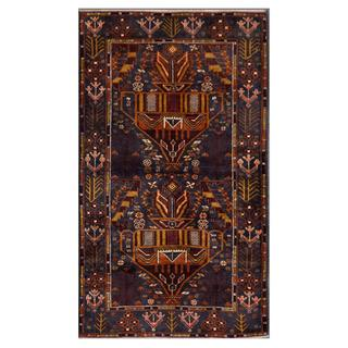 Afghan Hand-knotted Tribal Balouchi Navy/ Brown Wool Rug (2'10 x 5'0)