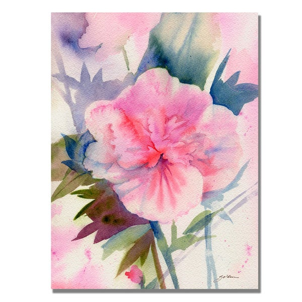 Shelia Golden 'Pink Hibiscus Bloom' Canvas Art