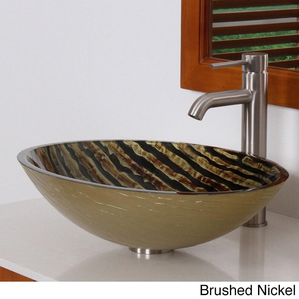 Elite Modern Oval Design Tempered Glass Bathroom Vessel Sink With