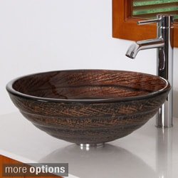 Elite Antique Bronze Tempered Glass Bathroom Vessel Sink with Faucet Combo