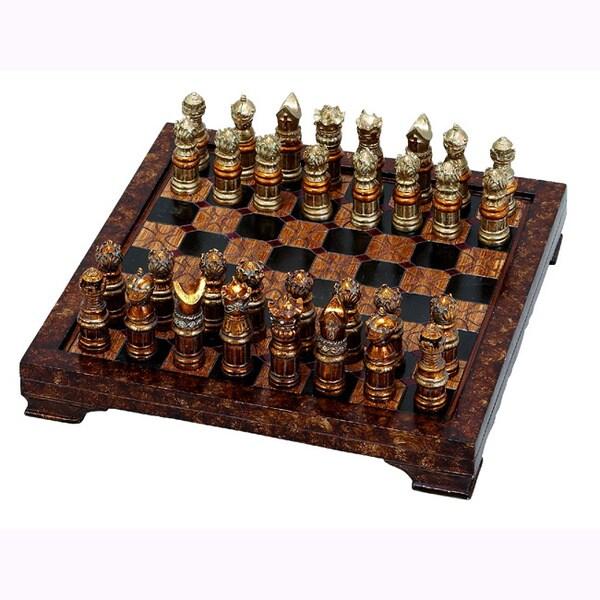 Polystone Antiqued Chess Set 15601891 Overstock Com