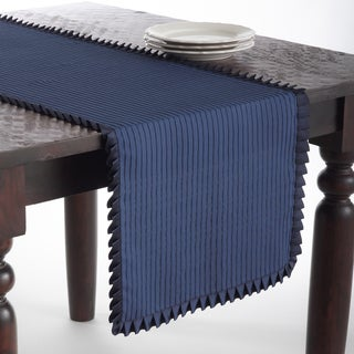 Indigo Ruffled Design Table Runner
