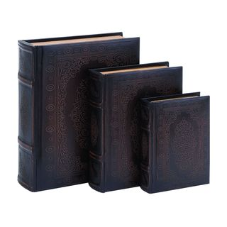 Smooth Leather Book Box Set With Floral decoration