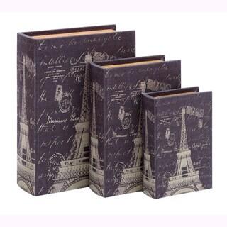 Book Box Set With Paris Eiffel Tower Theme (Set of 3)