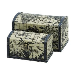 Set of Two Travel Chests With Ancient World Map