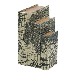 Ancient World Map Faux Book Boxes (Set of 3)