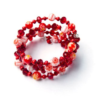 Children's Red Glass and Crystal Bead Wrap Bracelet (China)