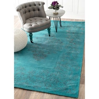 nuLOOM Hand-knotted Wool/ Viscose Overdyed Traditional Medallion Blue Rug (4' x 6')