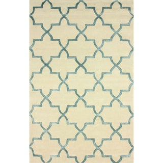nuLOOM Handmade Modern Woolen Viscose Trellis Blue Rug (4' x 6')