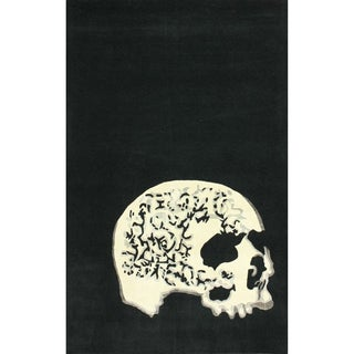 nuLOOM Handmade Wool Modern Skeleton Skull Black Rug (5' x 8')