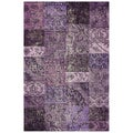 nuLOOM Handmade Wool Transitional Patchwork Overdyed Purple Rug (5' x 8')