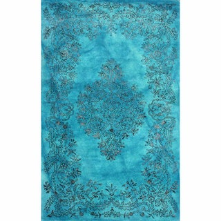 nuLOOM Hand Knotted Wool/ Viscose Overdyed Traditional Medallion Blue Rug (7' 6 x 9' 6)