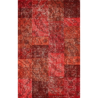 nuLOOM Handmade Wool Transitional Patchwork Overdyed Red Rug (7' 6 x 9' 6)