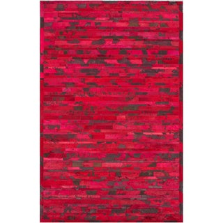 nuLOOM Handmade Abstract Chevron Red Cowhide Leather Rug (5' x 8')