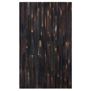nuLOOM Handmade Abstract Brown Cowhide Leather Rug (7'6 x 9'6)