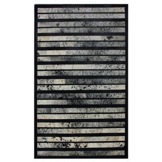 nuLOOM Handmade Abstract Lines Black Cowhide Leather Rug (7'6 x 9'6)