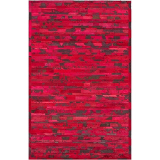 nuLOOM Handmade Abstract Chevron Red Cowhide Leather Rug (7'6 x 9'6)