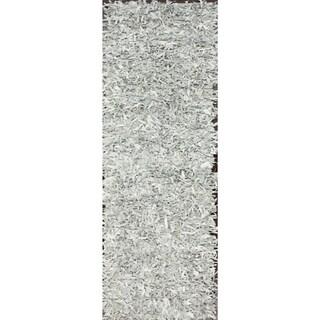 nuLOOM Handmade Alexa White Leather Shag Runner Rug (2'6 x 8')