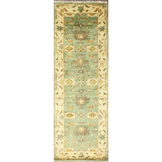 nuLOOM Hand-Knotted Traditional Floral Light Blue Wool Runner Rug (2'6 x 8')