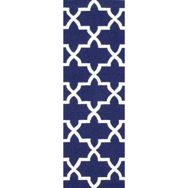 nuLOOM Handmade Alexa Moroccan Trellis Navy Wool Runner Rug (2'6 x 10')