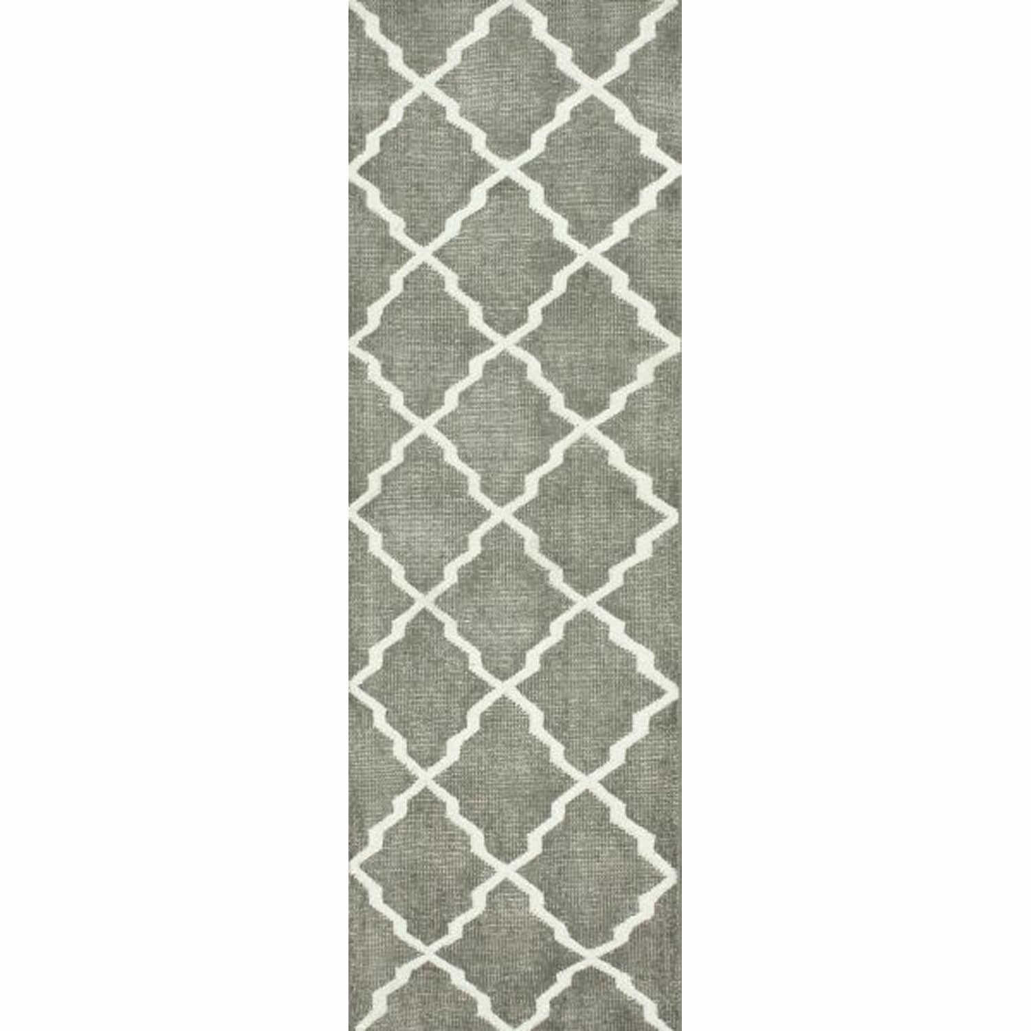 nuLOOM Hand-Knotted Moroccan Trellis Grey Faux Silk / Wool Runner Rug (2'6 x 10')