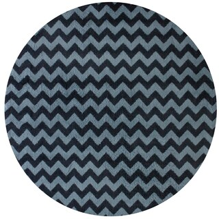 nuLOOM Alexa Chevron Vibe Zebra Round Synthetic Fiber Rug (6' Round)