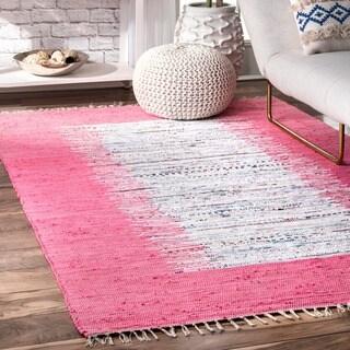 nuLOOM Handmade Mona Kilim Flatweave Pink Cotton Rug (8' x 10')