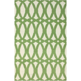 nuLOOM Handmade Lattice Flatweave Kilim Green Wool Rug (8' x 10')