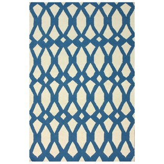 nuLOOM Handmade Lattice Flatweave Kilim Blue Wool Rug (8' x 10')