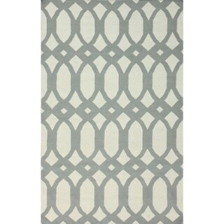 nuLOOM Handmade Lattice Flatweave Kilim Light Grey Wool Rug (8' x 10')