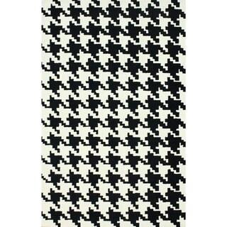 nuLOOM Handmade Houndstooth Black Wool Rug (8'6 x 11'6)