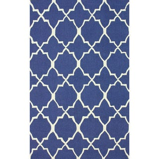 nuLOOM Handmade Lattice Blue Wool Rug (8'6 x 11'6)