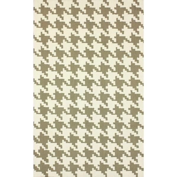 nuLOOM Handmade Houndstooth Light Brown Wool Rug (5' x 8')