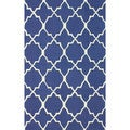 nuLOOM Contemporary Handmade Lattice Blue Wool Rug (5' x 8')