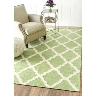 nuLOOM Handmade Moroccan Trellis Flatweave Kilim Green Wool Rug (8'6 x 11'6)