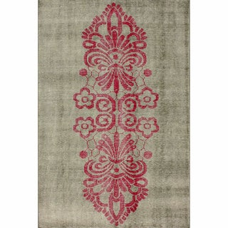 nuLOOM Hand-knotted Tribal Damask Pink Wool / Viscose Rug (8' x 10')