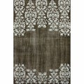 nuLOOM Hand-knotted Damask Brown Wool Rug (8' x 10')