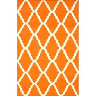 nuLOOM Hand-Hooked Moroccan Trellis Flatweave Orange Wool Rug (5' x 8')