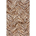nuLOOM Handmade Chevron Brown Cowhide Leather Rug (5' x 8')