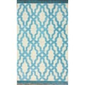 nuLOOM Handmade Modern Trellis Tassle Light Blue Cotton Rug (7'6 x 9'6)