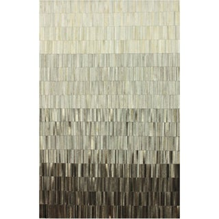 nuLOOM Handmade Abstract Grey Cowhide Leather Rug (7'6 x 9'6)