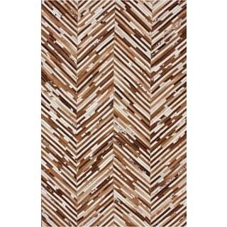 nuLOOM Handmade Chevron Brown Cowhide Leather Rug (7'6 x 9'6)