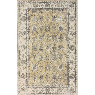 nuLOOM Traditional Border Ivory Microfiber Rug (5' x 8')