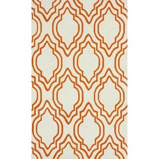 nuLOOM Handmade Modern Trellis Orange Wool Rug (7'6 x 9'6)
