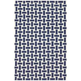 nuLOOM Handmade Trellis Flatweave Kilim Navy Wool Rug (7'6 x 9'6)
