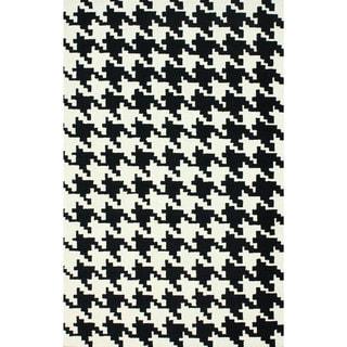 nuLOOM Handmade Houndstooth Black Wool Rug (7'6 x 9'6)