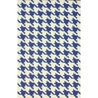 nuLOOM Handmade Houndstooth Blue Wool Rug (7'6 x 9'6)