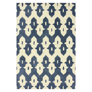 nuLOOM Handmade Modern Ikat Trellis Wool Rug (7'6 x 9'6)