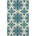 nuLOOM Handmade Lattice Blue Wool Area Rug (7'6 x 9'6)