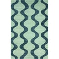 nuLOOM Handmade Swirls Blue Cotton Rug (7'6 x 9'6)